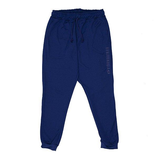 Calça De Helanca Azul Marinho Com Punho E Bordado