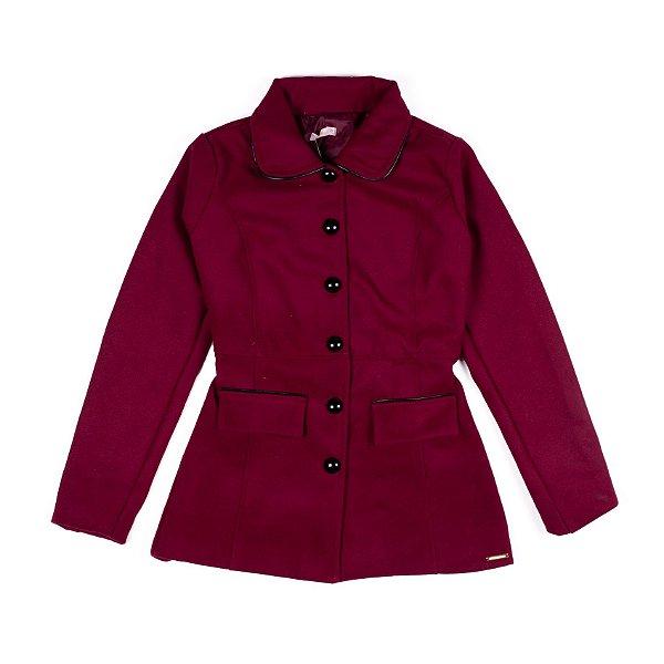 Casaco Trench Coat Feminino Bordô Com Botões E Bolsos Frontais