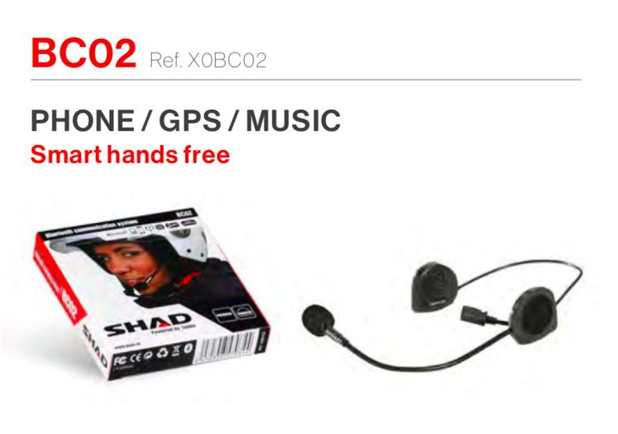 SHAD BC02 INTERCOMUNICADOR HANDS FREE INDIVIDUAL PILOTO - TELEFONE / GPS / MÚSICA