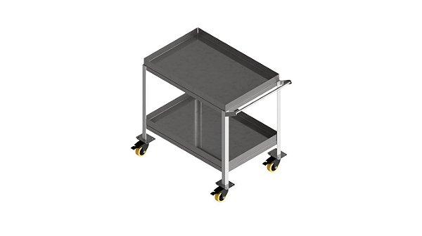 Carro com dois planos e bordas anti-vazamento para transportar seguro de amostra/reagentes/vidraria