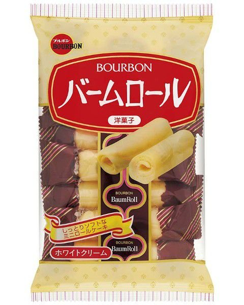 Biscoito Doce Japonês BaumRoll Bourbon Mini-Rocambole