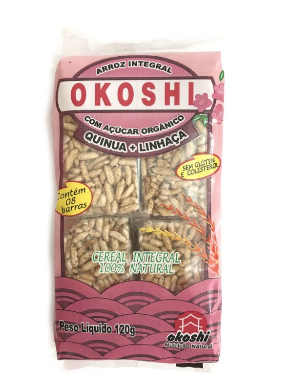 Okoshi Arroz Integral com Açúcar Orgânico Quinua+Linhaça 120g Hikage