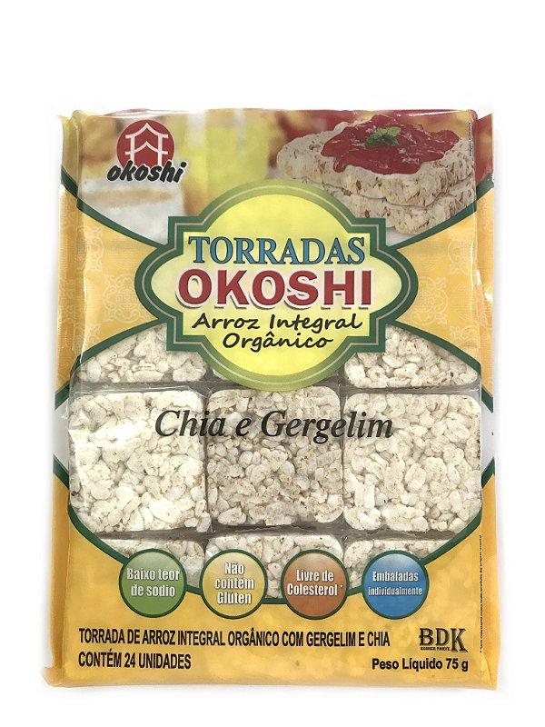 Okoshi Torradas de Arroz Integral Orgânico Chia e Gergelim 75g Hikage