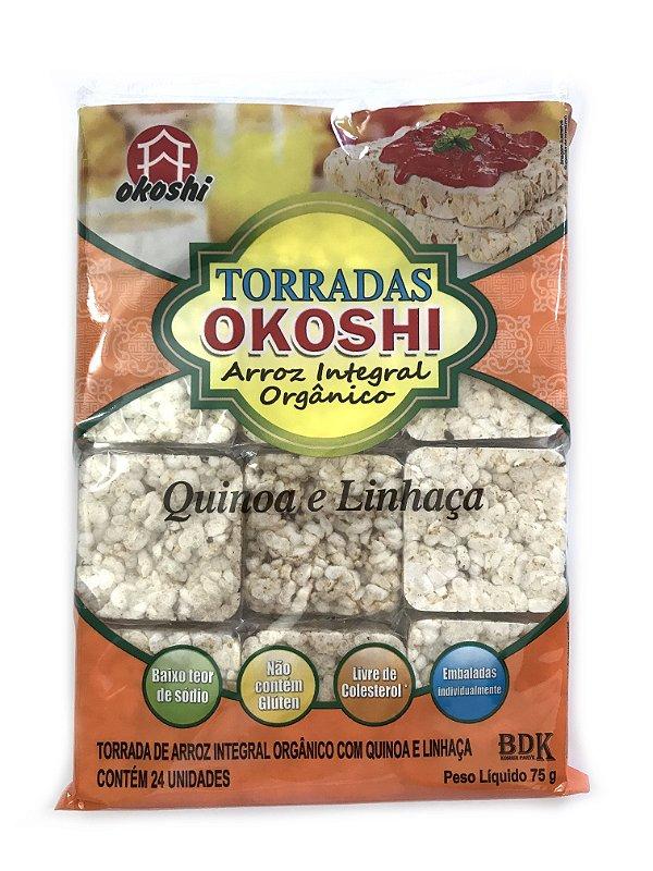 Okoshi Torradas de Arroz Integral Orgânico Quinoa e Linhaça 75g Hikage
