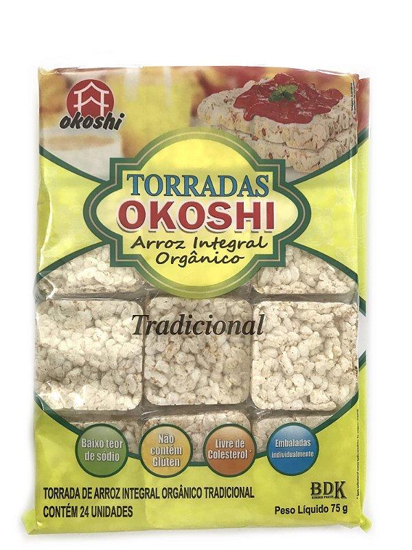 Okoshi Torradas de Arroz Integral Orgânico Tradicional 75g Hikage