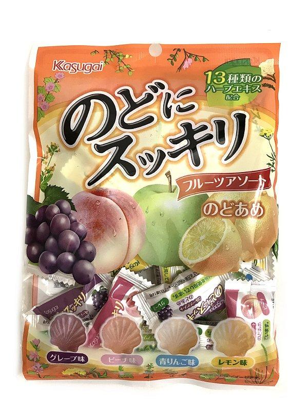 Bala Japonesa de Frutas Kasugai Nodo ni Sukkiri Fruits