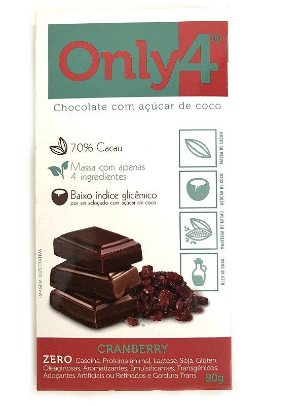 Chocolate com Açúcar de Coco - Cranberry -  80g Only4