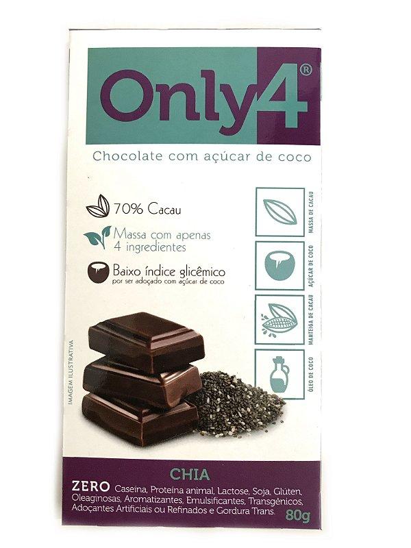 Chocolate com Açúcar de Coco - Chia - 80g Only4