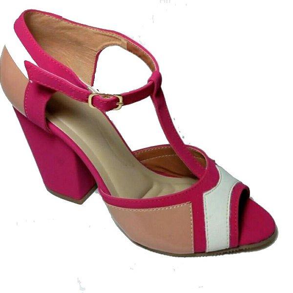 Sandalia Salto Bloco Rosa Rose Neve AKCalçados