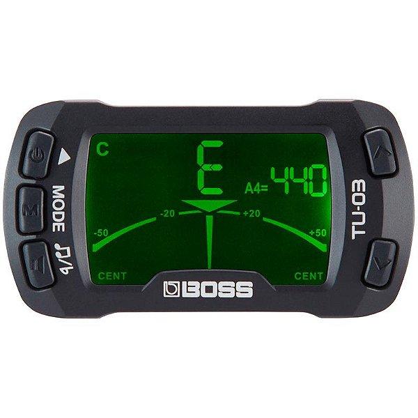 Afinador de clip e Metrônomo Para Instrumentos Boss TU-03
