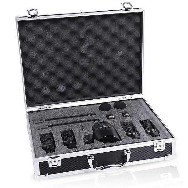 Kit De Microfone Para Bateria Com 7 Microfones Stagg Dms 5700h Com Case