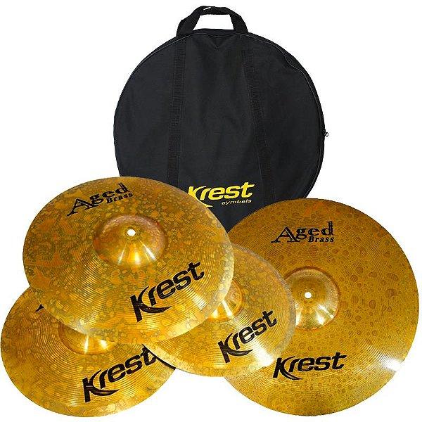 "Kit De Pratos Krest Aged Brass Abset1 Hi Hat 13"" Medium Crash 14"" Crash Ride 18"" Com Bag"
