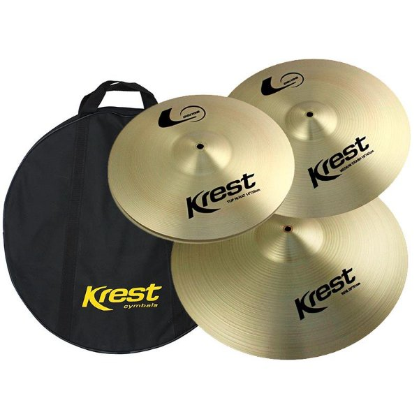 "Kit De Pratos Krest L Series Lset1 (Hi Hat 14"" Medium Crash 16"" Ride 20"") Com Bag"