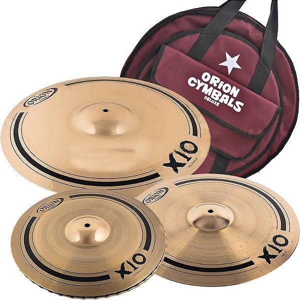 """Kit De Pratos Orion X10 Spx80 14"""" 17"""" 21"""" Com Bag"""