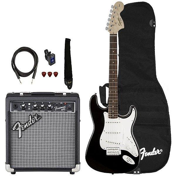 Kit Guitarra Fender Squier Affinity Stratocaster Frontman 10 Preta