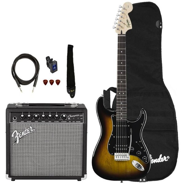 Kit Guitarra Fender Squier Affinity Stratocaster Hss Champion 20 Brown Sunburst