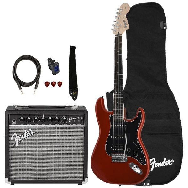Kit Guitarra Fender Squier Affinity Stratocaster Hss Champion 20 Candy Apple Red