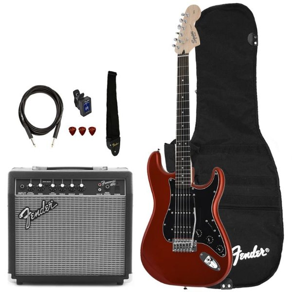 Kit Guitarra Fender Squier Affinity Stratocaster Hss Frontman 15 Candy Apple Red