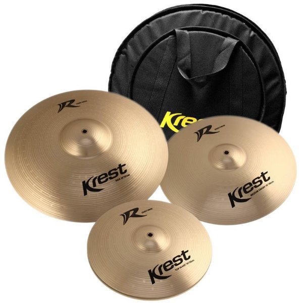 "Kit Prato Krest R Series Rset1 14"" 16"" 20"" Com Bag Luxo"