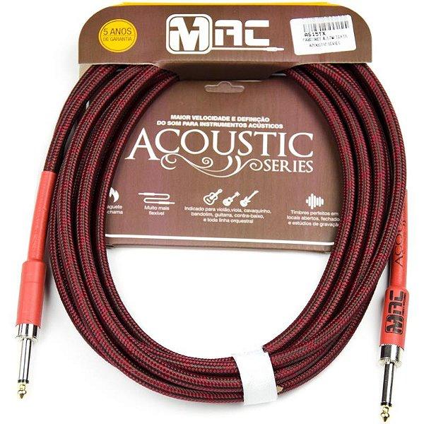 Cabo P/ Instrumentos Mac Cabos Acoustic Series 4,57m Têxtil P10