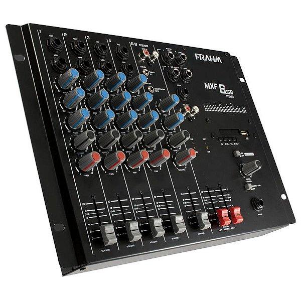 Mesa De Som Mixer 6 Canais Mxf6 Usb Frahm Bivolt