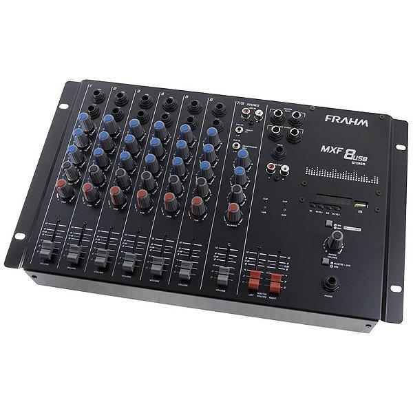 Mesa De Som Mixer 8 Canais Mxf8 Usb Frahm Bivolt