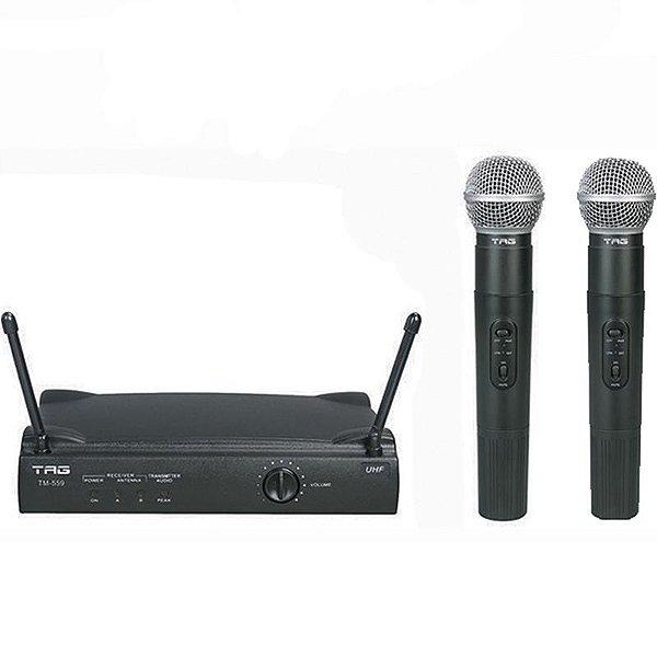 Microfone Duplo Tagima Tag Sound Sem Fio UHF Com Estojo
