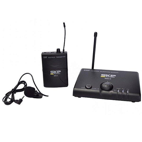 Microfone Lapela Sem Fio UHF Skp Mini-III