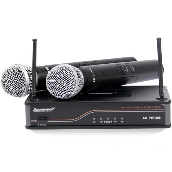 Microfone Profissional Duplo Bastão Sem Fio Lexsen LM-VHF 258