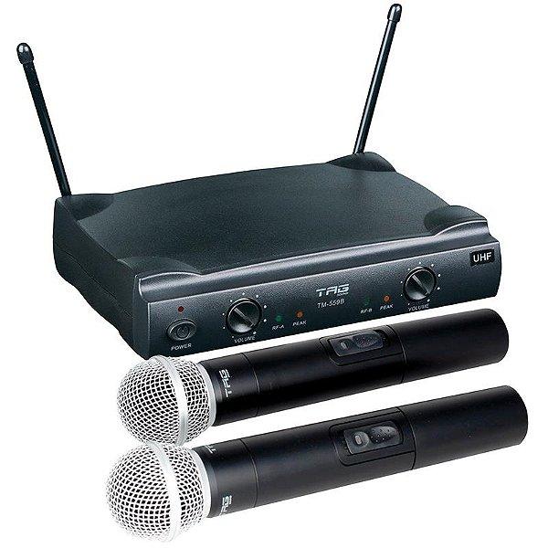 Microfone Sem Fio Bastão Duplo TAG Sound TM559B Bivolt