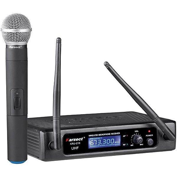 Microfone Sem Fio Profissional Karsect KRU210m Bastão