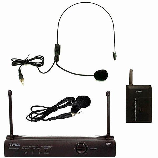 Microfone Tagima Tag Sound Tm559hsl Sem Fio UHF Lapela E Headset Com Estojo