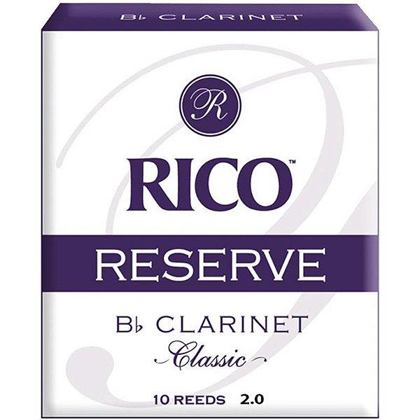 Palheta Reserve Classic Clarinete Bb 2 Rico Rct1020 C/ 10 Unidades