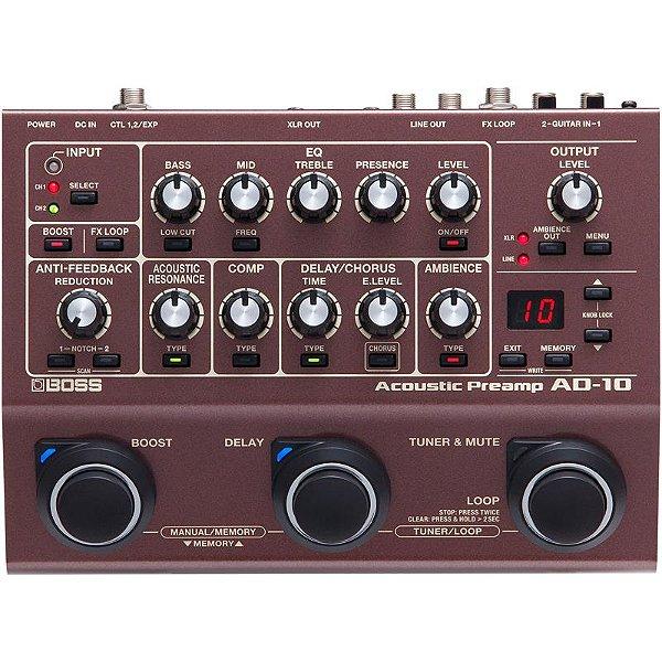 Pedal Boss Pré-amplificador De Violão Ad-10 Acoustic Preamp