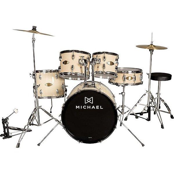 """Bateria Acústica Michael Audition Dm828n 22"""" Natural Com Banco E Pratos"""