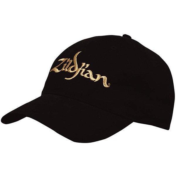 Boné Zildjian Baseball Cap Preto Com Logo Dourado T3200
