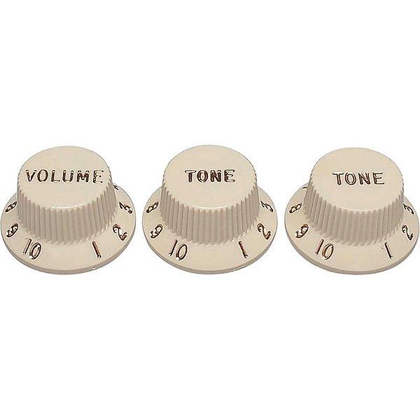 Knobs Fender Stratocaster Vtt Branco Envelhecido
