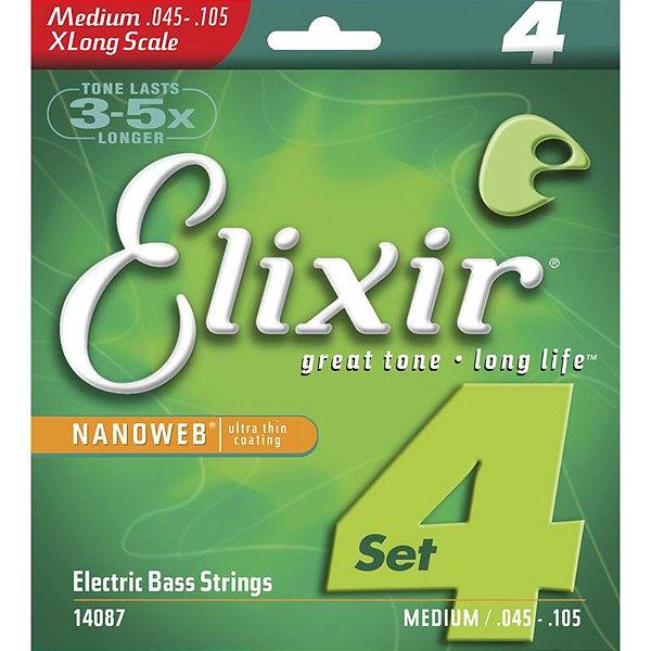 Encordoamento Contrabaixo 4 Cordas 045 Elixir Nanoweb XLong Scale Medium