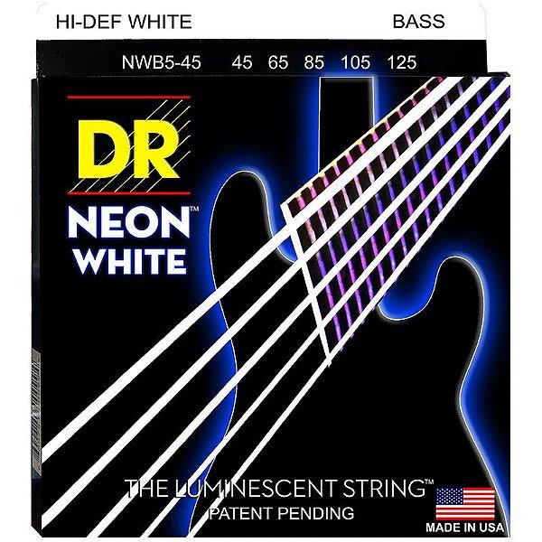 Encordoamento Contrabaixo Dr Neon White 045 5 Cordas Branco Nwb5-45