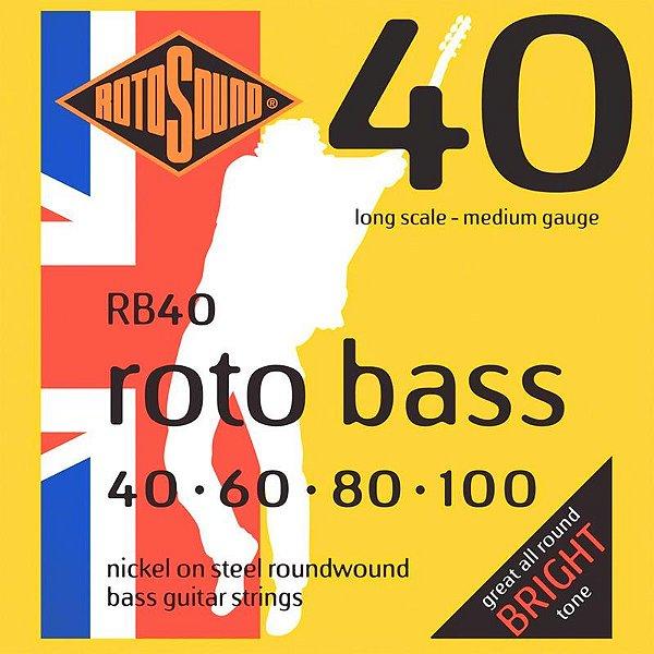 Encordoamento Rotosound Para Baixo 4 Cordas Rb40 Rotobass 040