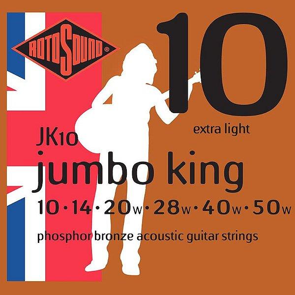 Encordoamento Rotosound Para Violão Jumbo King Jk10 010