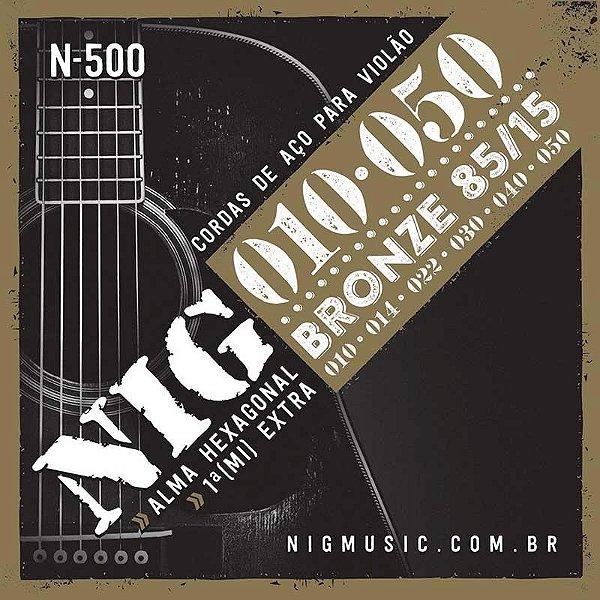 Encordoamento Violão Aço Nig 010 N500 Bronze 85/15