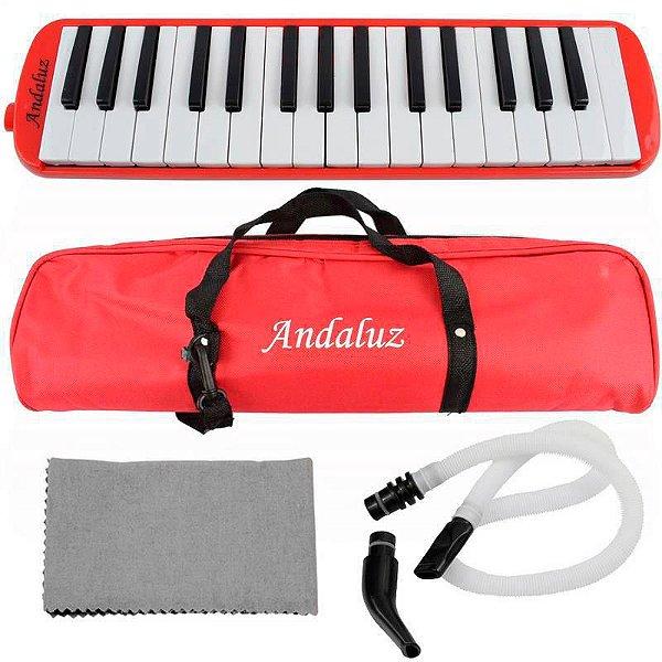 Escaleta Andaluz 32 Teclas Ft32k Vermelha Com Bag