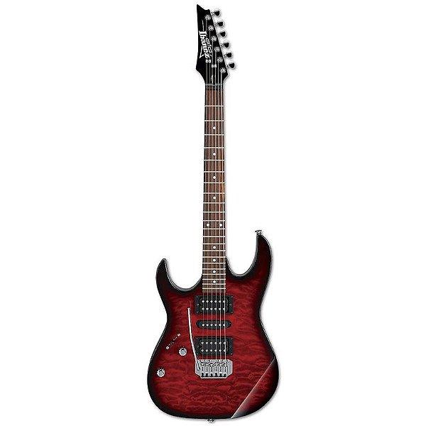 Guitarra Ibanez GRX70QAL TRB Transparent Red Burst LH Canhota