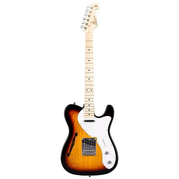 Guitarra Sx Telecaster Semi Acústica Stl H Sunburst 3ts