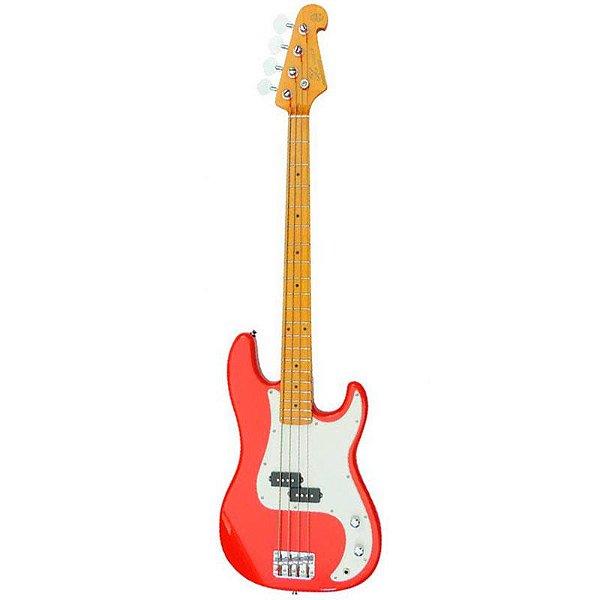 Contrabaixo Sx Precision Bass Spb57 4 Cordas Fiesta Red Com Bag
