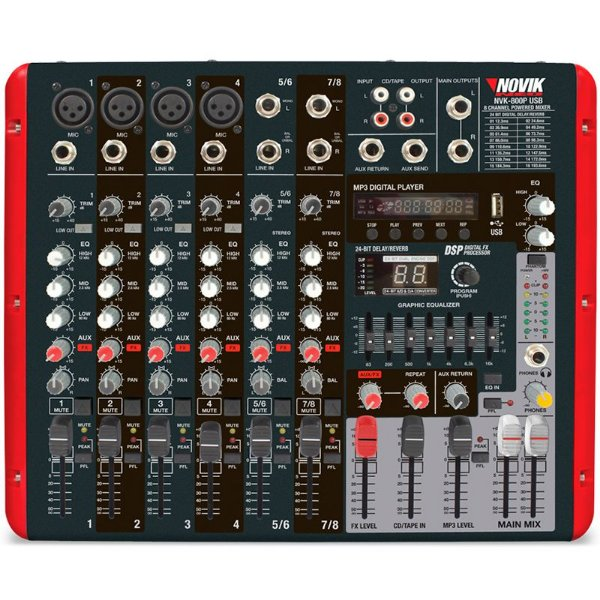 Mesa de Som Amplificada Novik Neo NVK800P USB Mixer Bivolt