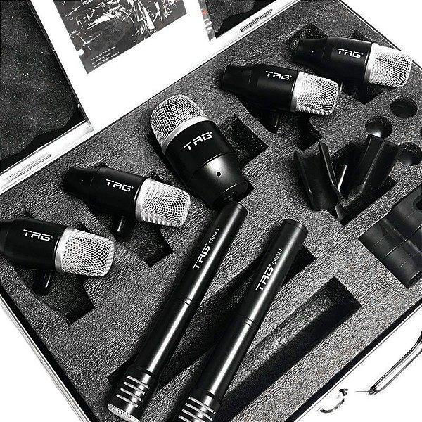 Kit De Microfones Bateria 7 Mics C/ Clamp Tagsound Tg Drum 7