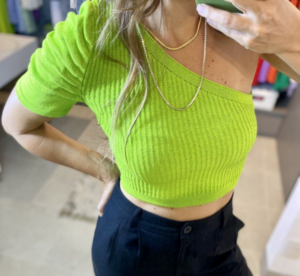 Cropped Tricot Um Ombro Só