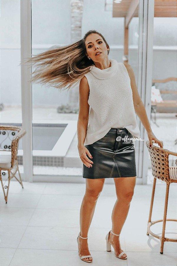 6d0198daaf Mini saia de couro ecológico - AffeMaria Moda Feminina